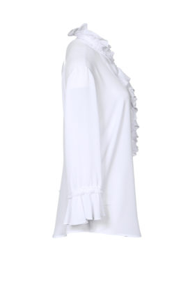 Ruched blouse with jabot and lace