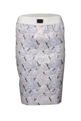 Skirt, brocade with grey-blue contrasts
