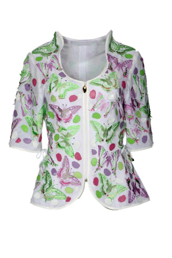 Couture jacket with appliqué butterflies