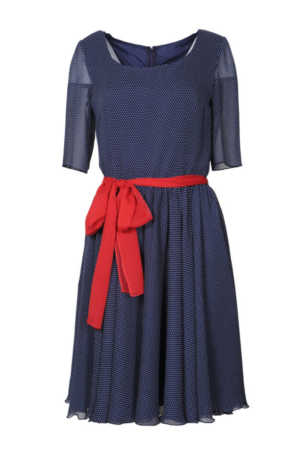 Dress with bell and silk belt