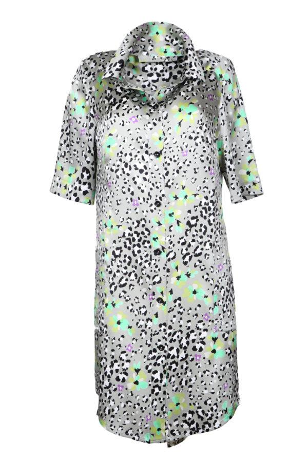 Shirt blouse dress, jade-black-white