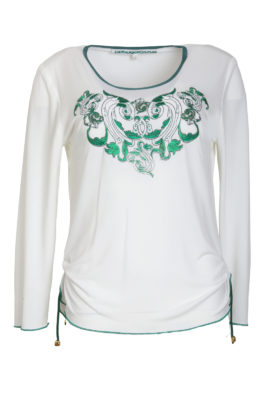 Shirt with green ornament