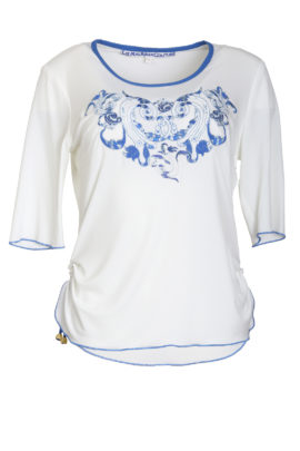 Shirt with blue ornament