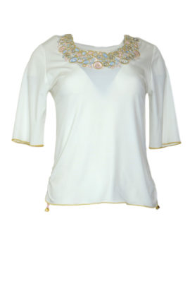 Shirt with jewel-embroidery