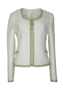 Jacket cotton mix with lurex and jewel-embroidery