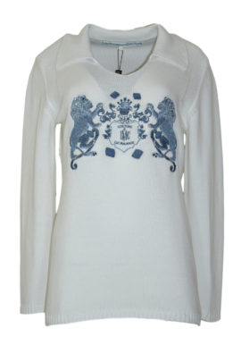 Sweater with heraldic lion embroidery