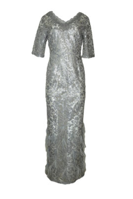 Evening dress with metallic sequins