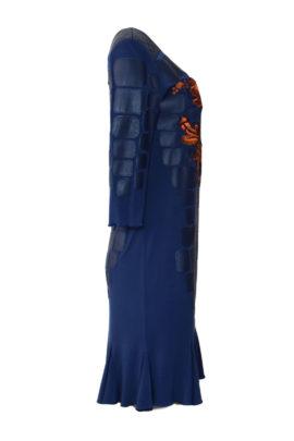 Kleid Nappaleder mit Paisley embroidery