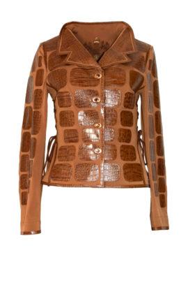 Krokojacke mit Couture-Kragen