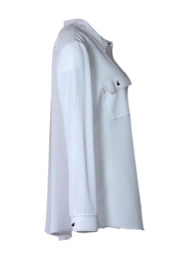 Bluse Classik weiß mit schwarzen Handstich