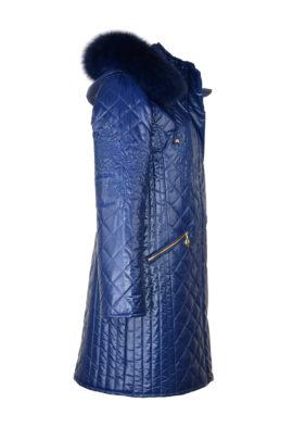 Kultparka lang royalblau mit heraldic-embroidery