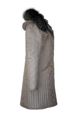 Kultparka lang grau mit heraldic-embroidery
