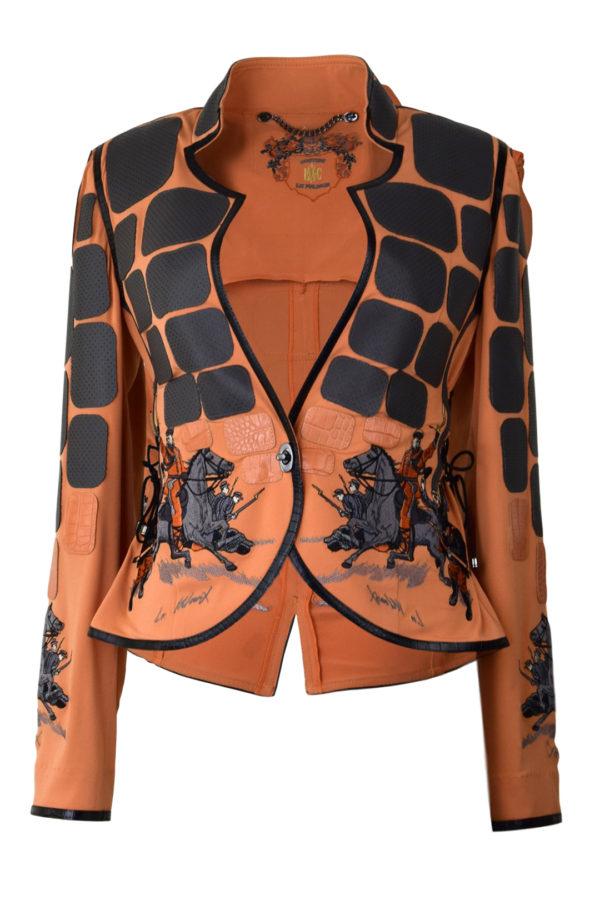 Jacke, orange, perforiertes Leder