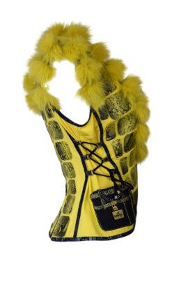 Fuchsweste mit Krokoleder und Klassik-Bag embroidery