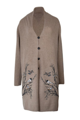 Cardigan 100% mit Winter Birds- embroidery