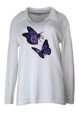 Pulli 100% Baumwolle mit butterfly-embroidery