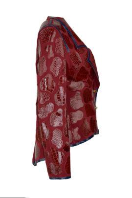Krokojacke, dark red, französischer Schnitt