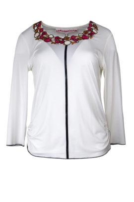 Shirt mit Jewel-embroidery und Lackpasse
