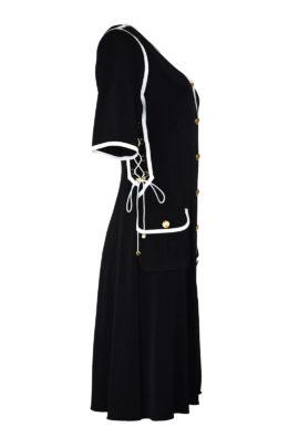 Kleid, schwarz mit weißen Kontrasten