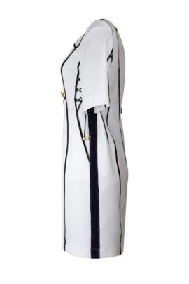 Kleid, weiß Georgette mit schwarzen Kontrasten