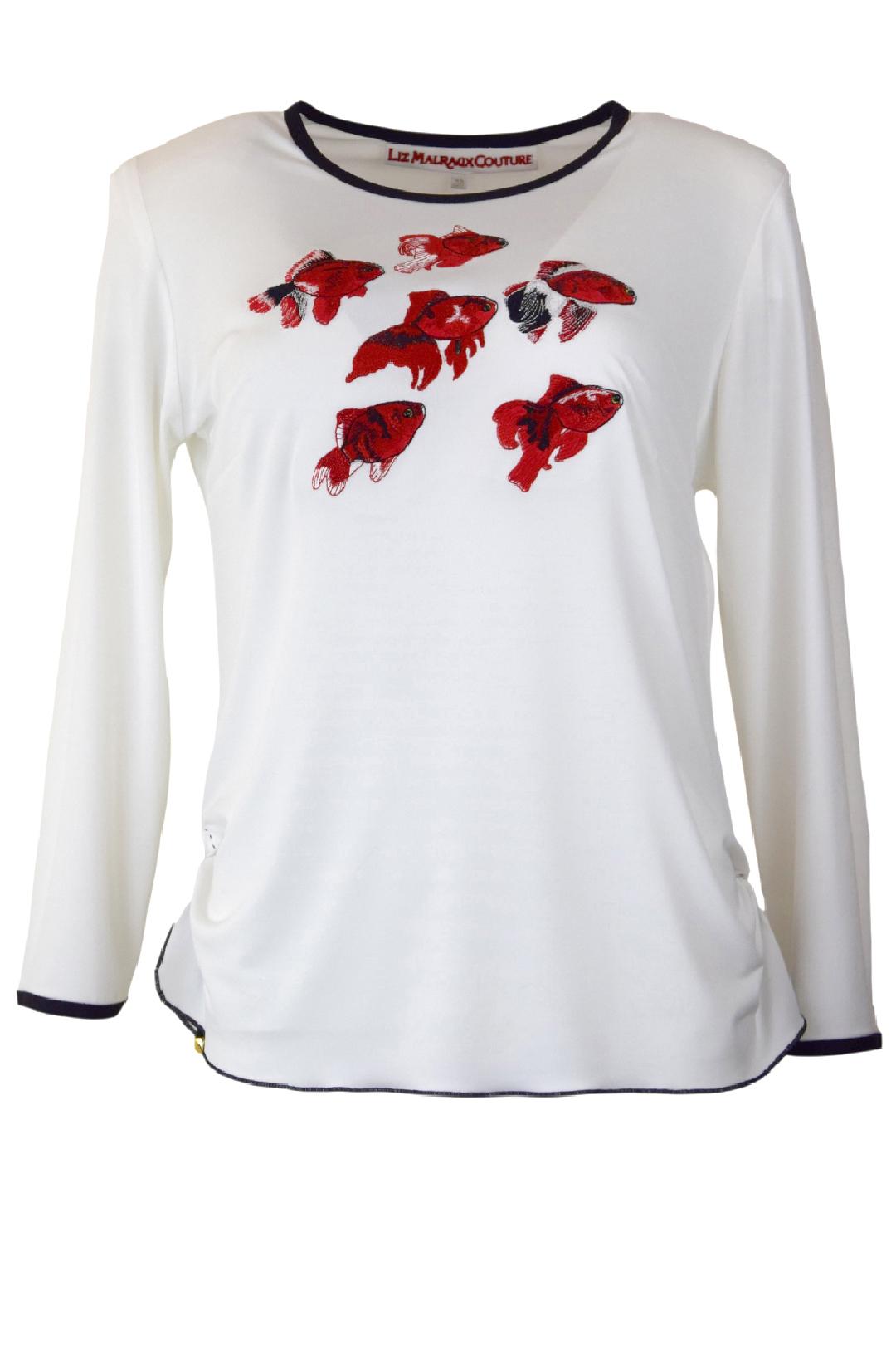 Shirt, Ocean-Embroidery, Kontrast Einfassung, LA