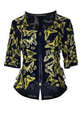 Couture-Jacke mit gestickten und applizierten Schmetterlingen, dreierlei Leder, Multisize, Schmetterlinge: 84 Stück