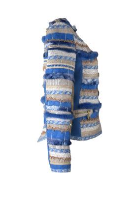 Jacke, multikolor, handgewebter Stoff, mit Bordüre und Taschen