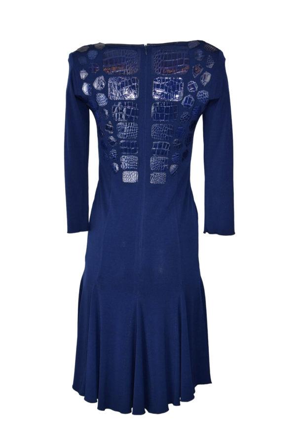 Kleid, navy, mit Kroko-Patches, ausgestellt
