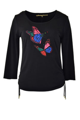 Shirt, schwarz mit Butterfly-embroidery, LA