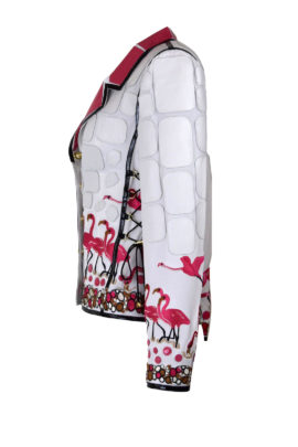 Jacke mit Flamingo und Juwel embroidery