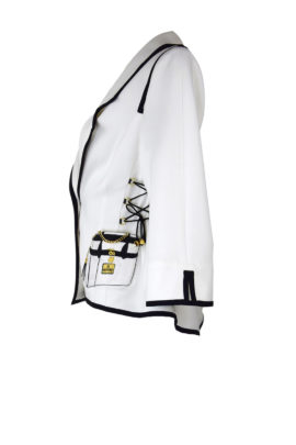 Jacke, ecru-schwarz mit Klassik Bag Embroidery