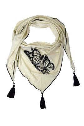 Tuch jersey mit butterfly, embroidery und 3 Quasten