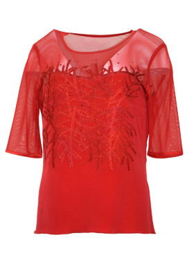 Couture-Shirt, transparent, moss-embroidery