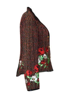 """Jacke reine Seide handgewebt mit """"summer meadow"""" embroidery auf Stoff und Leder"""