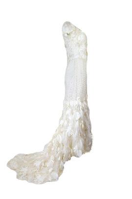 Brautkleid, Tüll mit Blätter und Straußenfedern Applikationen