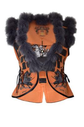 """Weste, perforiertes Leder mit """"cavalerie-embroidery"""" und Fuchsverbrähmung, multisize"""