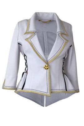 Brautjacke, asymmetrisch, Doublejersey mit weiß-gold-schwarzer Bordüre
