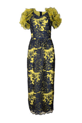 Kleid mit Schmetterlingsärmeln, Spitze, navy, gelb unterlegt