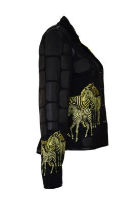 "Jacke mit besticktem Revers, Nappaleder-Patches, und ""zebra-embroidery"" 4 Motive"