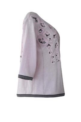 "Pulli mit ""rosenquarz-embroidery"", Kaschmir-Merino-Viskose"