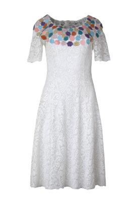 Kleid, Elastischespitze mit handapplizierten Patches in Pastell-Multicolor