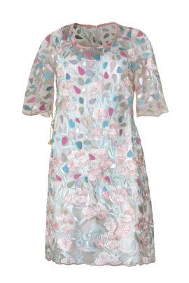 Kleid, Spitze mit Handapplizierten Patches in Pastell Multicolor