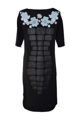 """Kleid mit Nappaleder-Patches, """"lace-embroidery"""" und Taschen"""