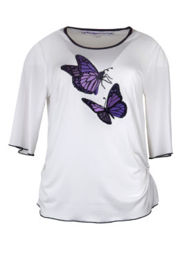 """Shirt mit """"maxi-butterfly-embroidery"""", Kurzarm"""