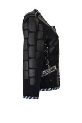 Krokojacke mit gestickter klassischer Bordüre in schwarz-blau
