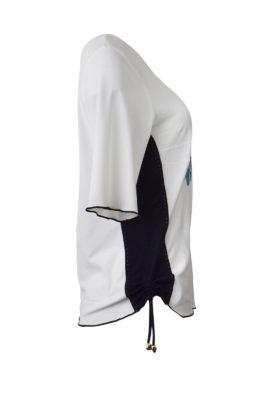 """Shirt mit """"ocean-embroidery""""und schwarzen seitlichen Einsätzen, Kurzarm"""