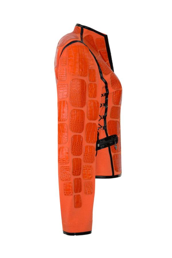 Spencerjacke, Kroko, mit schwarzen Kontrasten und Taschen, multisize