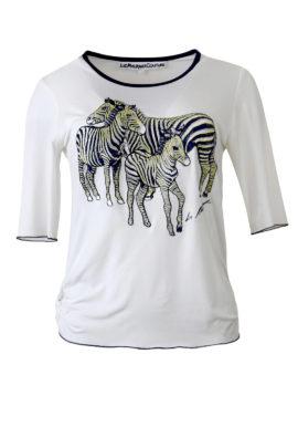 """Shirt mit """"zebra-embroidery"""", Kurzarm"""
