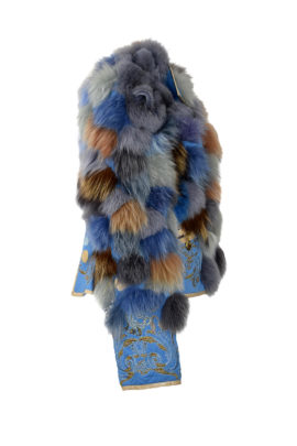 Fuchsjacke,blau-pastel, mit Krokoapplikation und Ornament embroidery