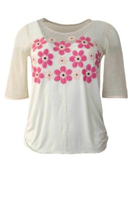 Shirt mit Netzoptik und applizierten Blumen, Swarovski Perlen, Kurzarm